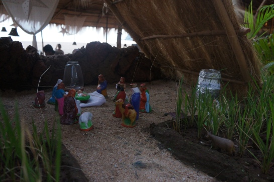 nativity scene on the beach